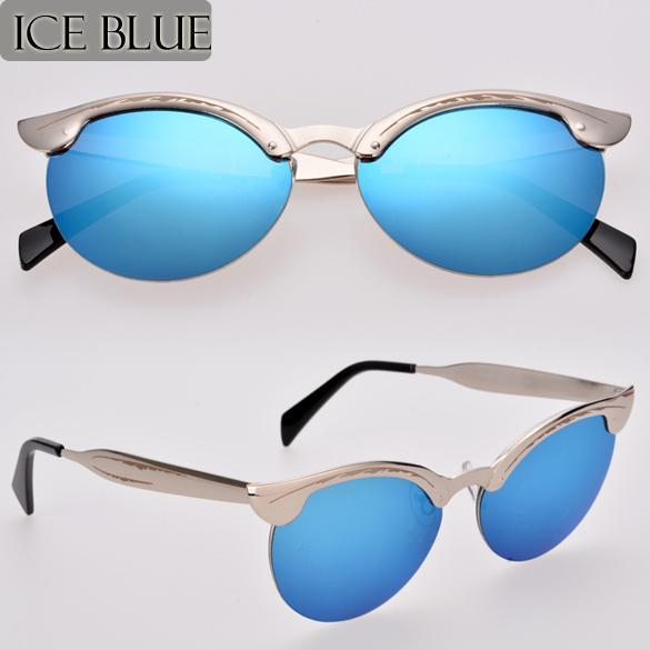 Rimless Glasses Singapore : Cyber Retro Unisex Mens Semi-Rimless Sunglasses (Blue ...