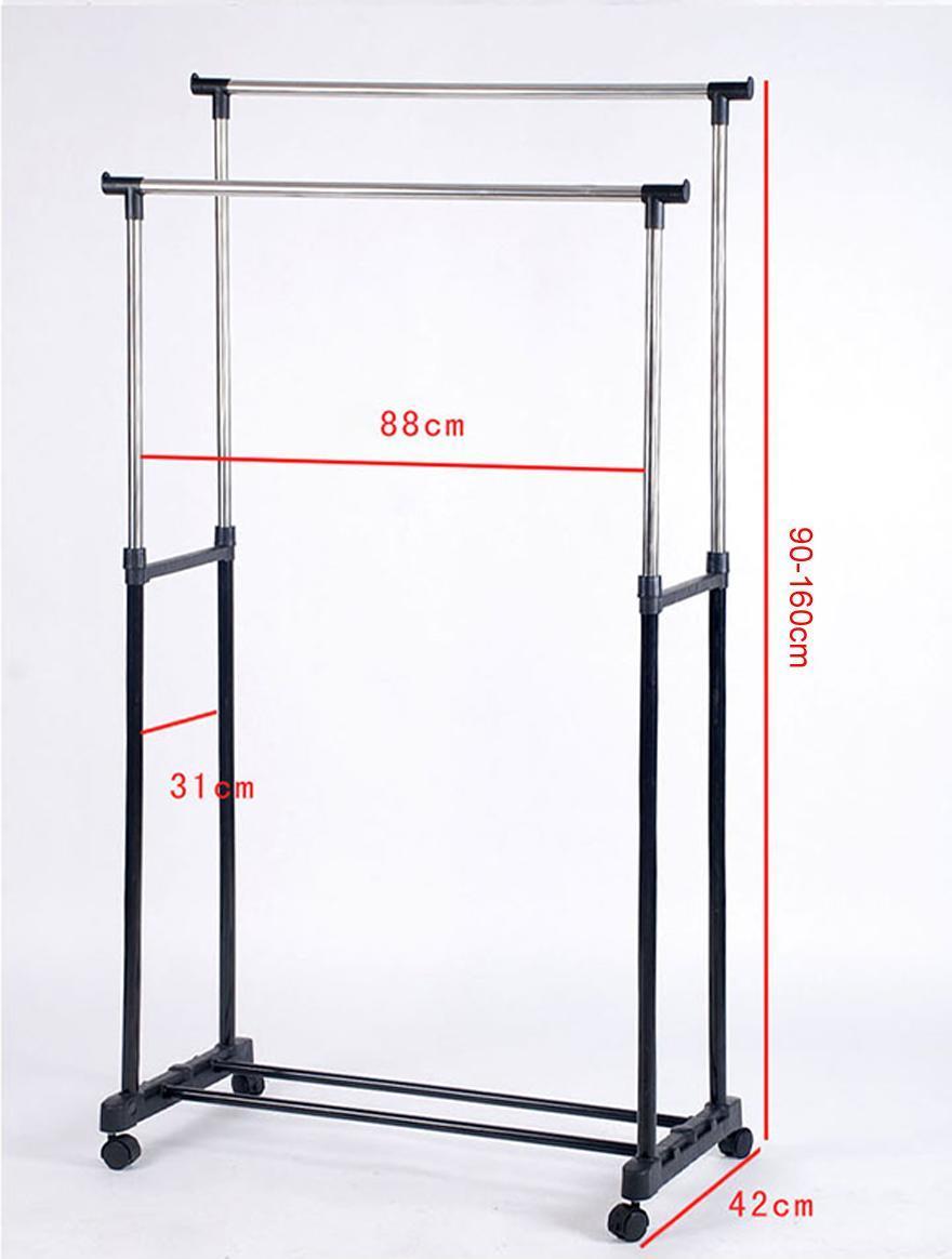 double rod garment rack rolling bar rail rack hang clothes. Black Bedroom Furniture Sets. Home Design Ideas