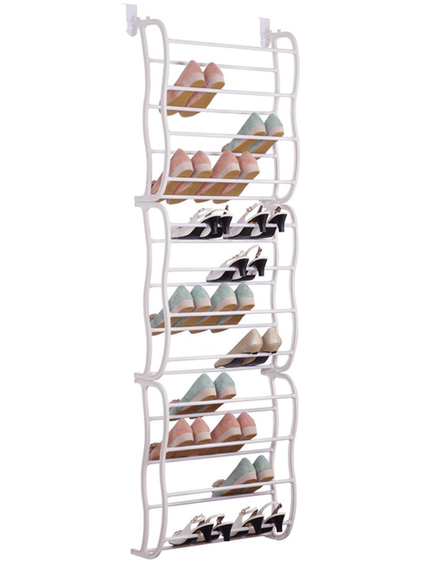 36 pair 12 layers over the door shoe rack organizer storage closet metal frame ebay. Black Bedroom Furniture Sets. Home Design Ideas
