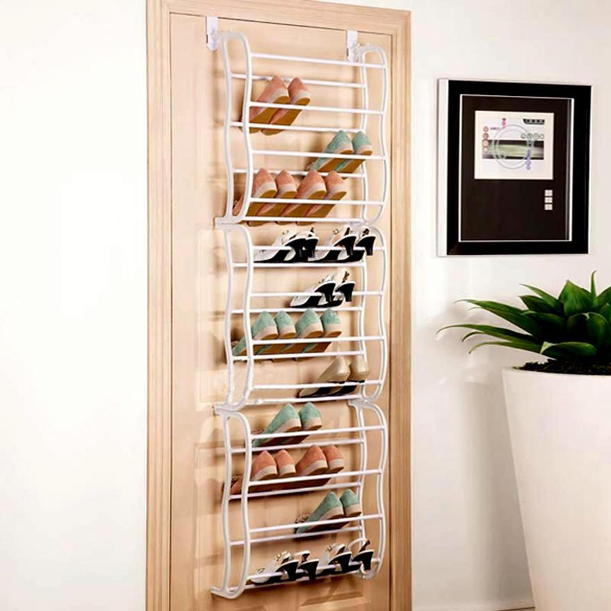 2016 over the door 36 pair hanging shoe rack organizer metal frame closet boot ebay. Black Bedroom Furniture Sets. Home Design Ideas