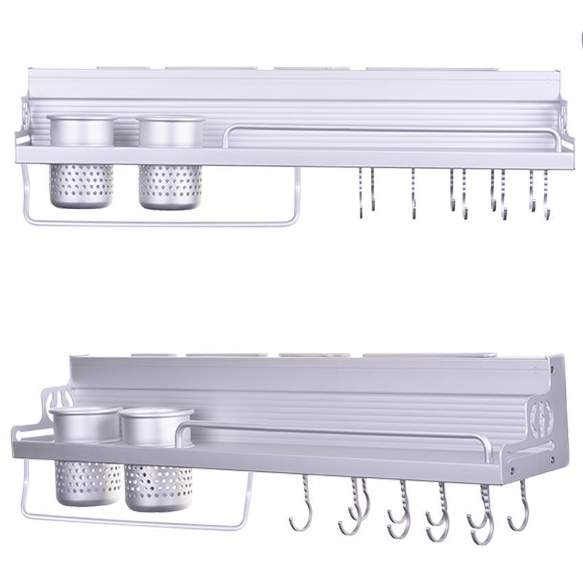 Kitchen Wall Mounted Shelf Rack Hook Multi Functional