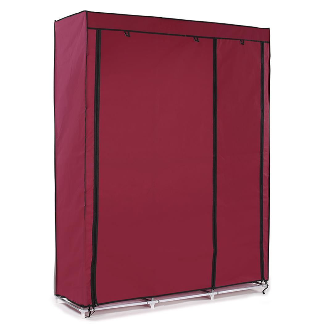 63 portable home clothes rack closet storage organizer oxford wardrobe wine red ebay. Black Bedroom Furniture Sets. Home Design Ideas