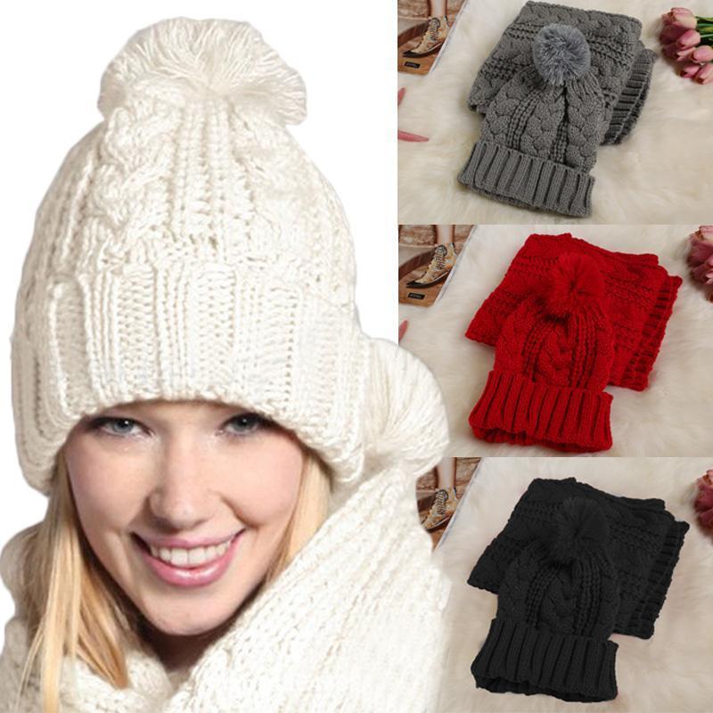womens knit hat and scarf winter 2 pcs set knitting