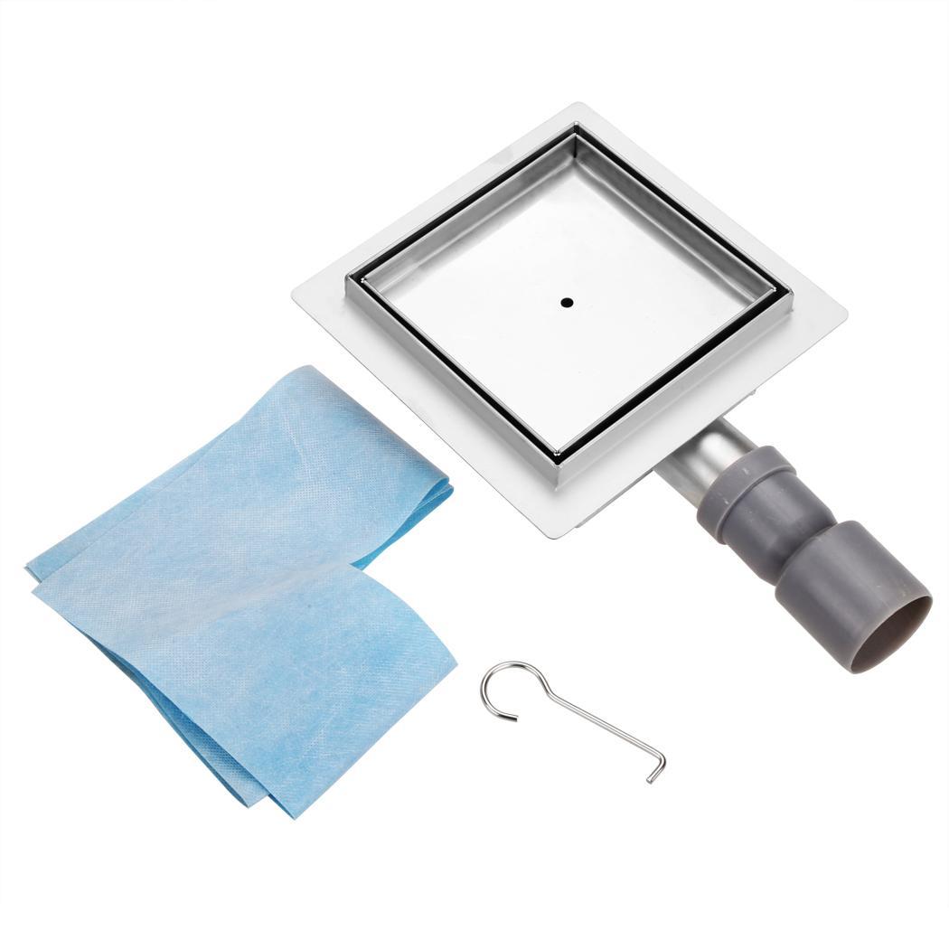 edelstahl bodenablauf mit siphon duschrinne 15x15 cm quardart duschablauf flach ebay. Black Bedroom Furniture Sets. Home Design Ideas
