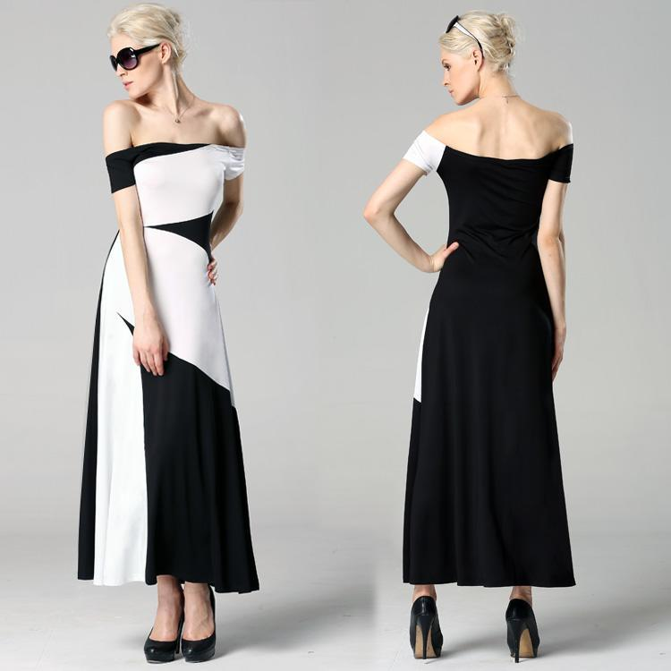 classic women long maxi blackampwhite off shoulder dress
