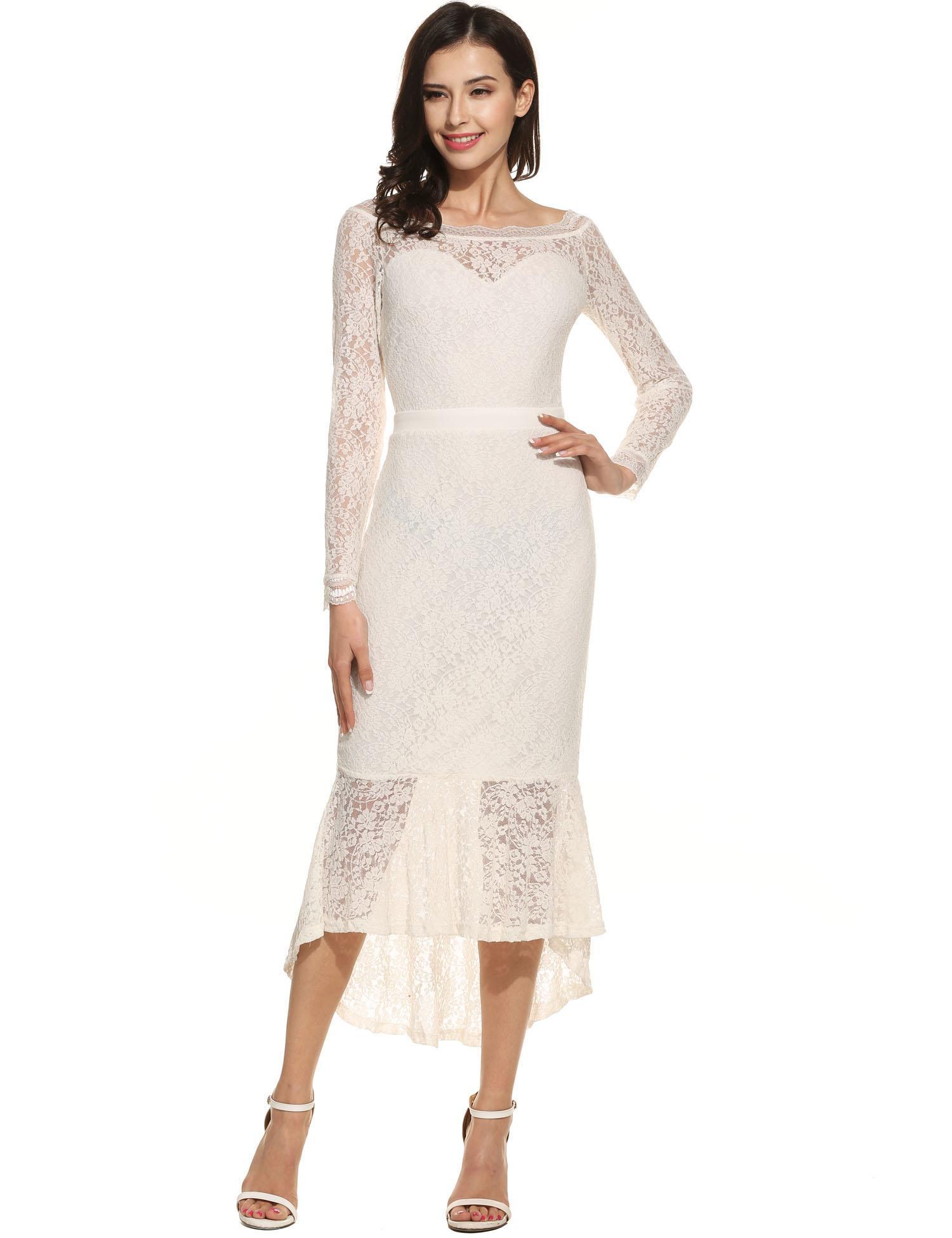 Unique New Women Lady Casual Long Sleeve Lace Dress Patchwork Off Shoulder  Lace Fishtail Dress 38555fddb039