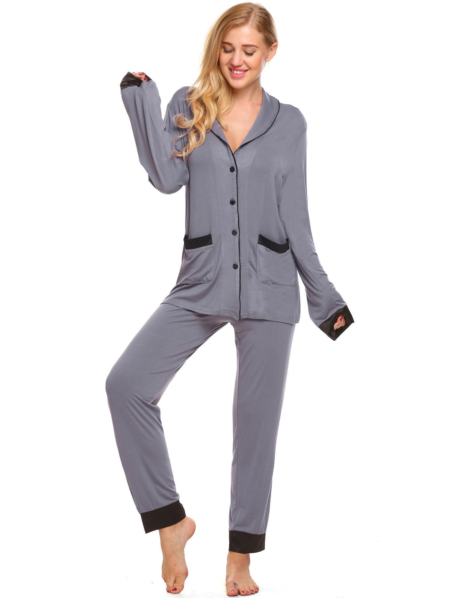 de42f52d637 Bestselling New Women Pajama Pajamas Set Long Sleeve Button-Down Shirt Top  and Long Pants