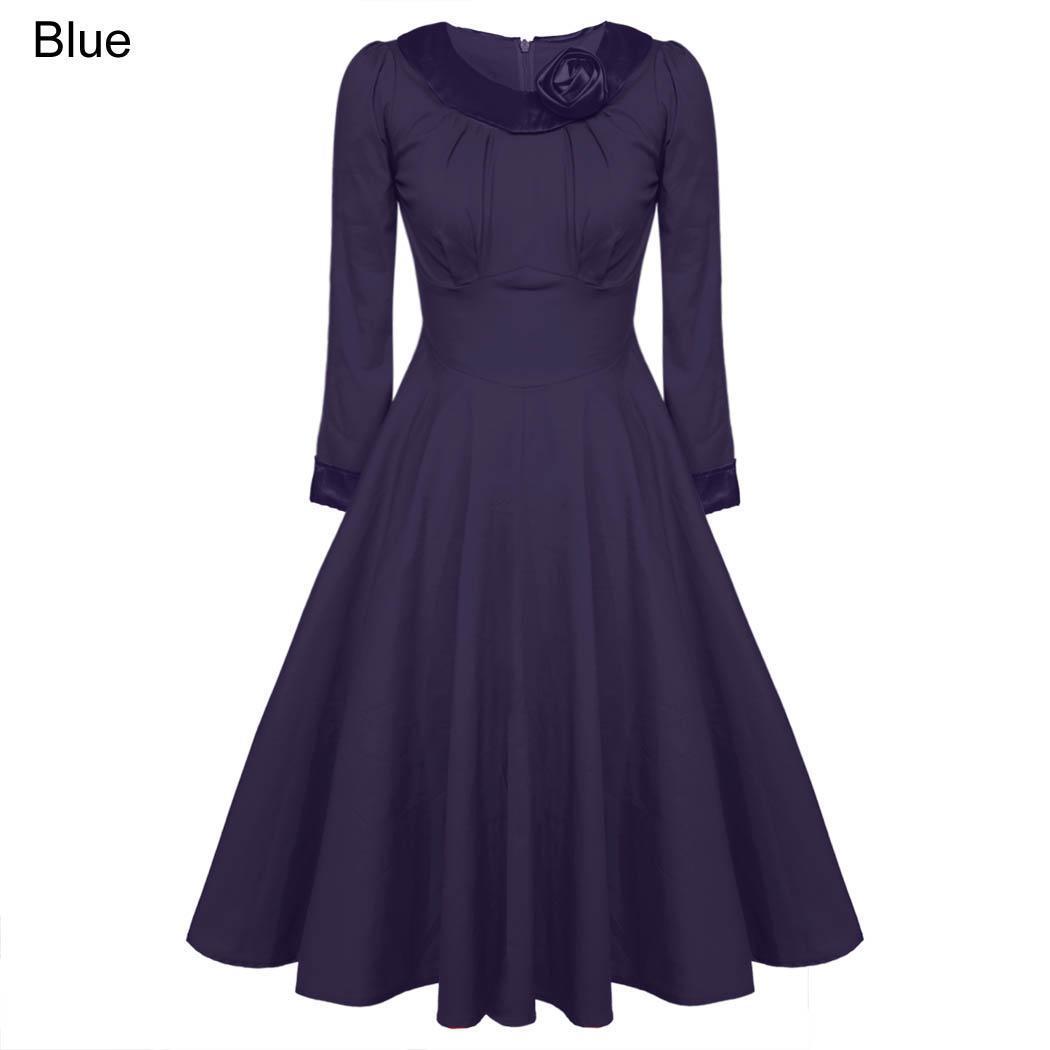 robe vintage femme classique avec ceinture bleu bleu. Black Bedroom Furniture Sets. Home Design Ideas