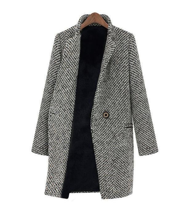 trench coat femme finejo hiver chaud revers laine longue veste noir achat vente manteau. Black Bedroom Furniture Sets. Home Design Ideas