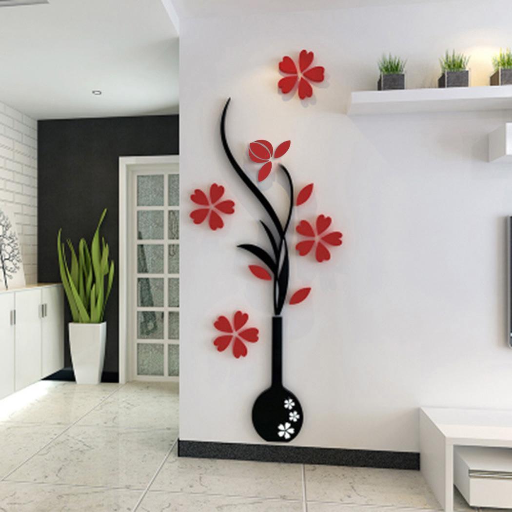 Decoration de mur 3d diy prune et vase autocollant de mur - Paquet cadeau original maison ...