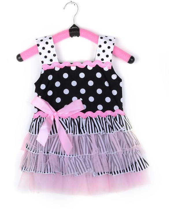2014 New Baby Girl Kid Skirt Dress Costume Tutu Pink Lace Dot Clothes 3 Sizes