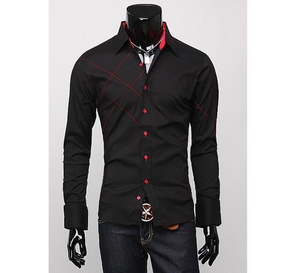 Hot Sale Mens Gents Formal Casual Sexy Slim Fit Dress Long Sleeve Shirt