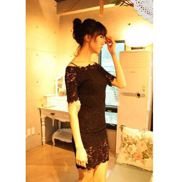Women's Boat Neck Lace Strap Slim Sexy Clubwear Party Mini Dress Off Shoulder