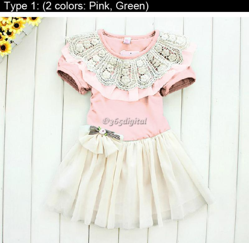 Baby Girl's Kid Lace Princess Skirt Dress Polka Dot Outfit Pettiskirt Tutu Dress