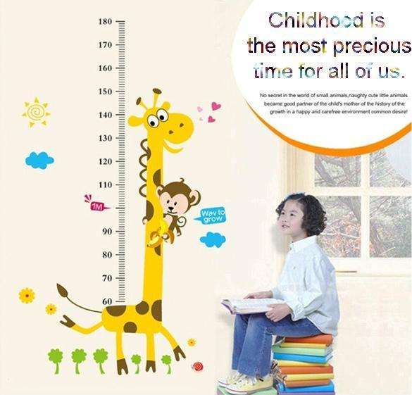 Removable Giraffe Monkey Vinyl Wall Stickers Decal Kids Chart Measure Decor