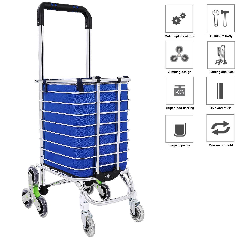 bc36f0012d16 Details about 8 Wheel Alu Folding Portable Shopping Grocery Basket Cart  Trolley+Swivel Wheel