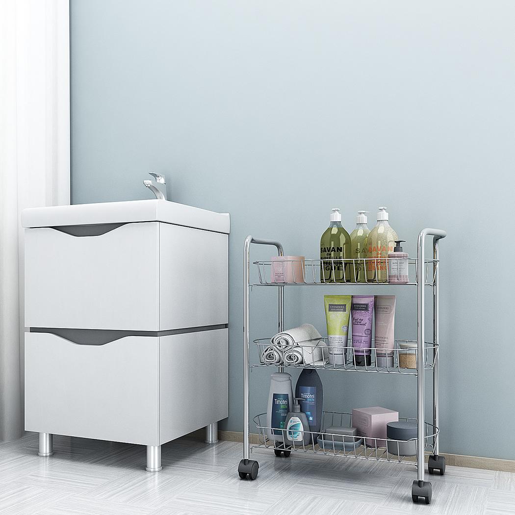 3 schichten 4 rollen standregal k chenregal metallregal badregal mit nachlauf ebay. Black Bedroom Furniture Sets. Home Design Ideas