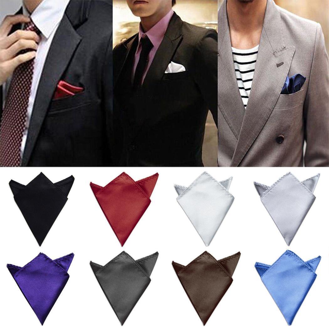 ef9c0e13c3c52 Details about Men Blazer Pocket Square Handkerchief Satin Solid Color  Wedding Party Hanky C1MY