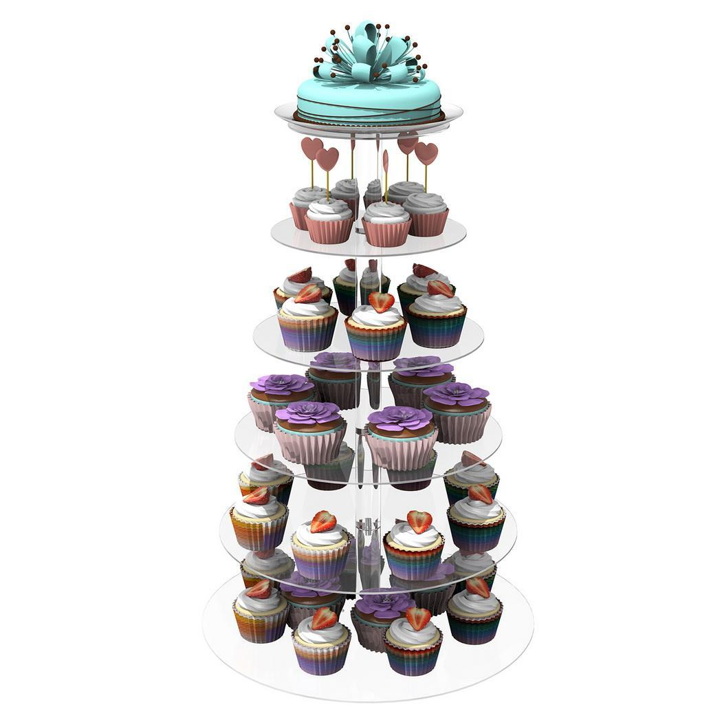Hot 7 Tier Clear Circle Round Cake Stand Wedding Birthday Display EH7E 04