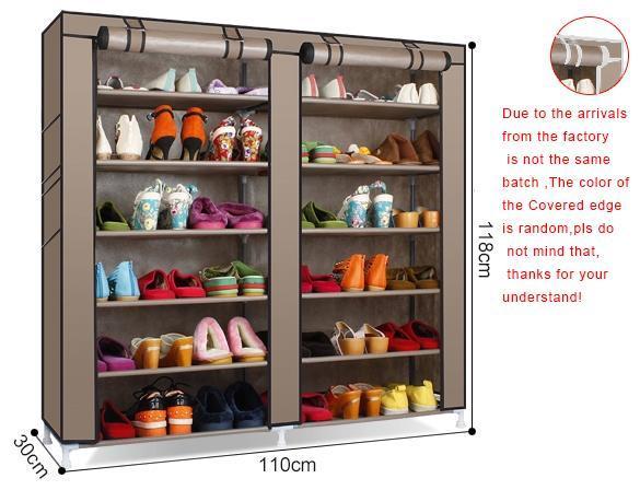 Homdox Two Row 6 Storey 12 Lattice 4 Pocket Exterior Portable Shoe Rack  Shelf Storage Shoes Closet Organizer Cabinet