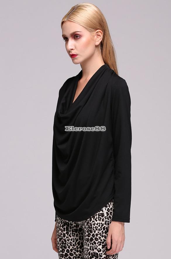 new styles ce0d8 974e5 Dettagli su Elegante Sexy Donne Nero Scollo V Camicia a Maniche Lunghe  Camicetta Tops ElR8