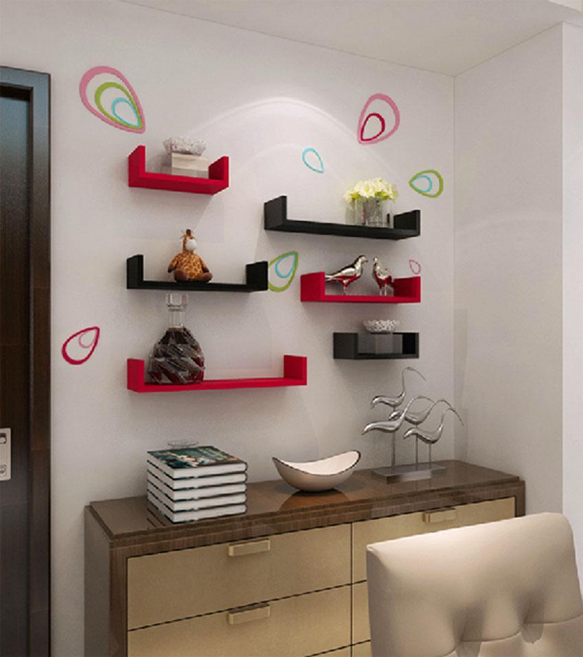 Details About Set Of 3 U Shape Floating Wall Shelves Storage Display Shelf Mdy