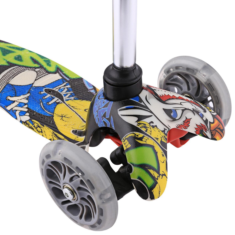 4 Höhen Verstellbar DHL Klappbar Kinderroller LED 3 Räder Roller Dreiradscooter