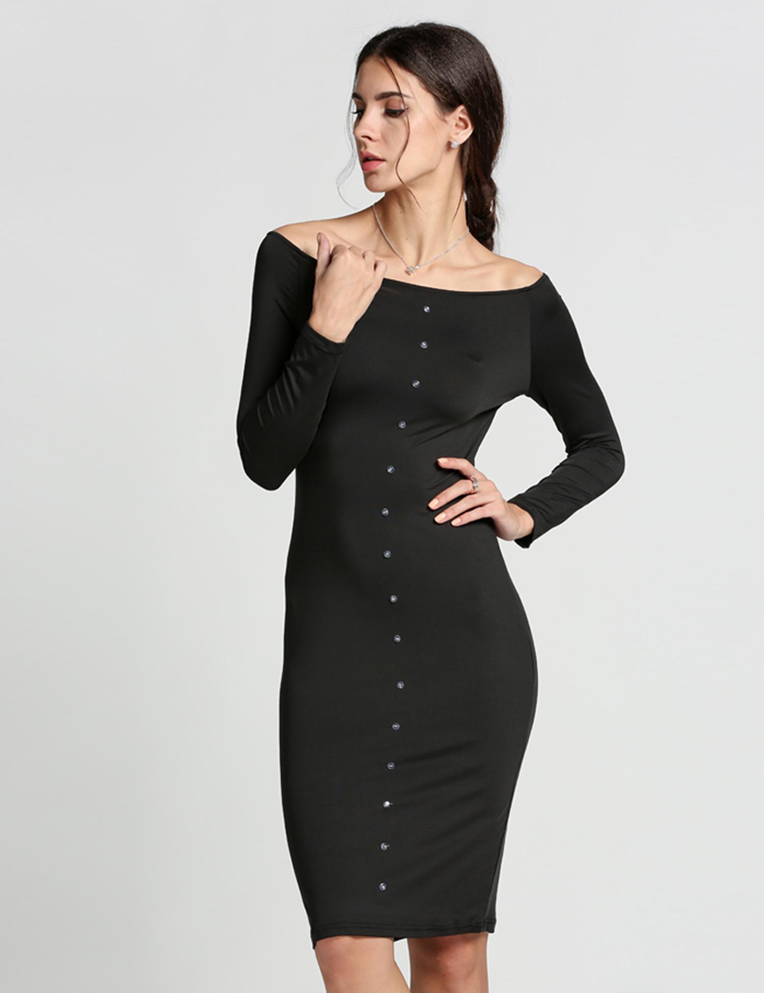 d80cb299449 Robe femme longue noir Finejo épaule nue robe de soirée Sexy Manche ...