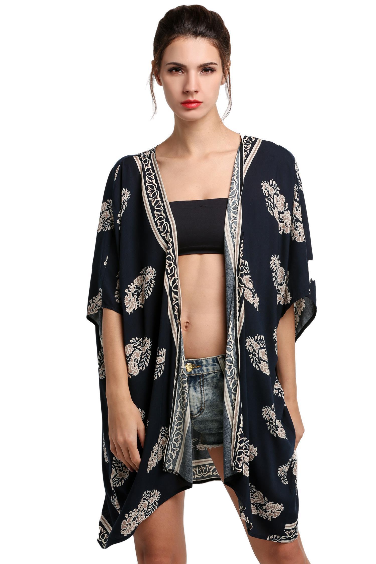 Cardigan De Plage Femme Pour Maillot De Bain Kimono Bleu Marine