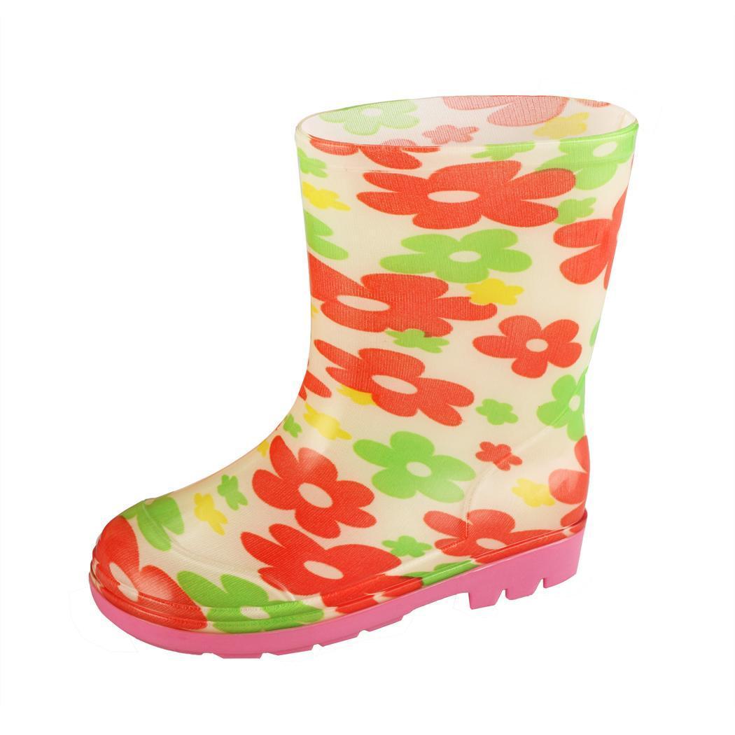 Arshiner Bottes pluie neige floral caoutchouc étanche chaussures pour enfant taille 17-23 LWFQ1c