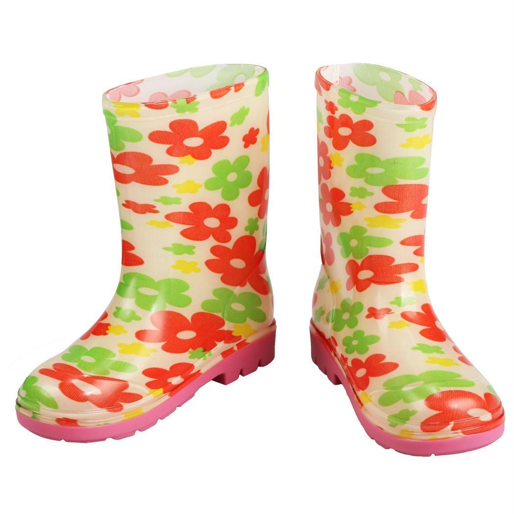 Bottes pluie neige floral caoutchouc étanche chaussures pour enfant eqsMNoao