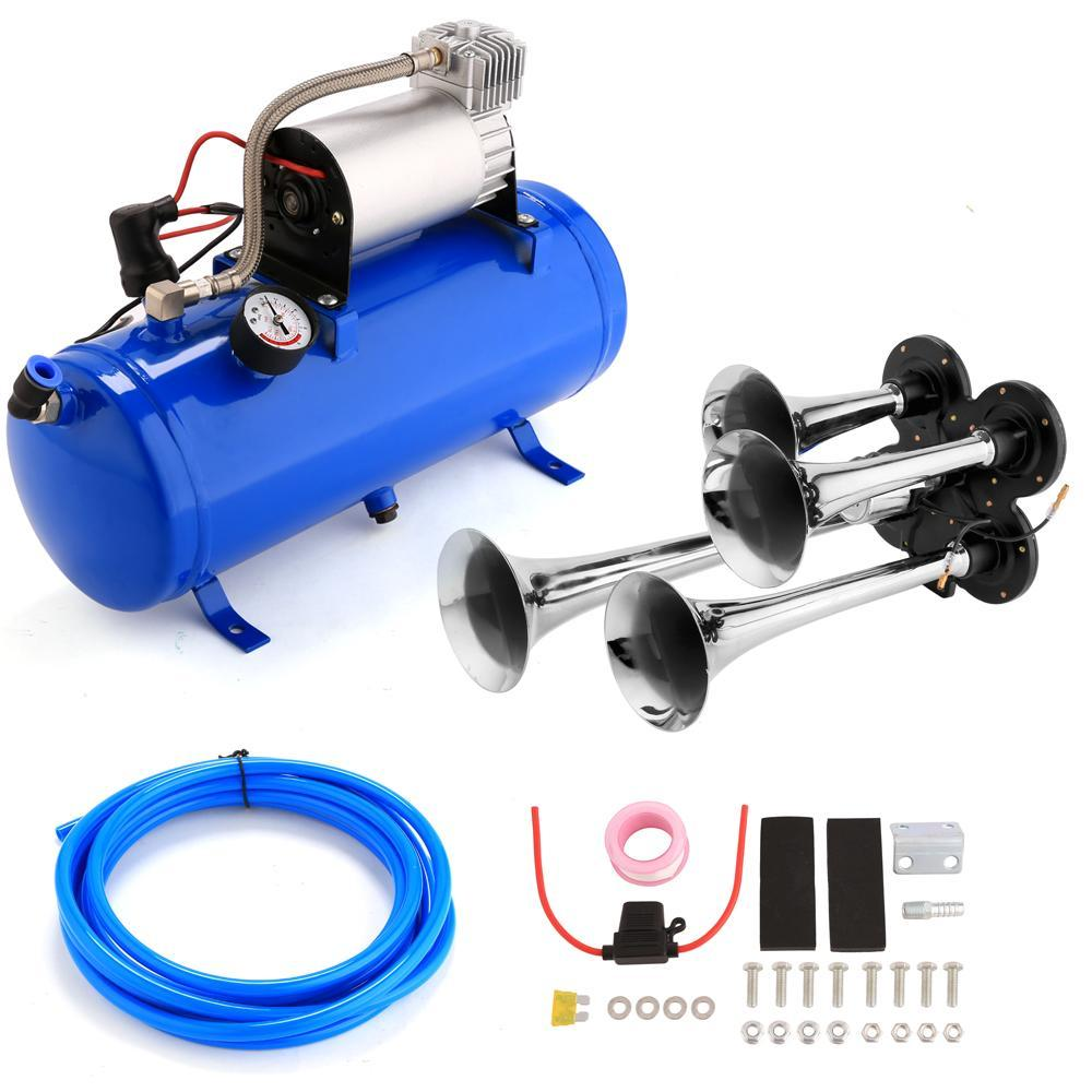 Package Content: 1 x 4-Trumpet Train Air Horn and Compressor Kit