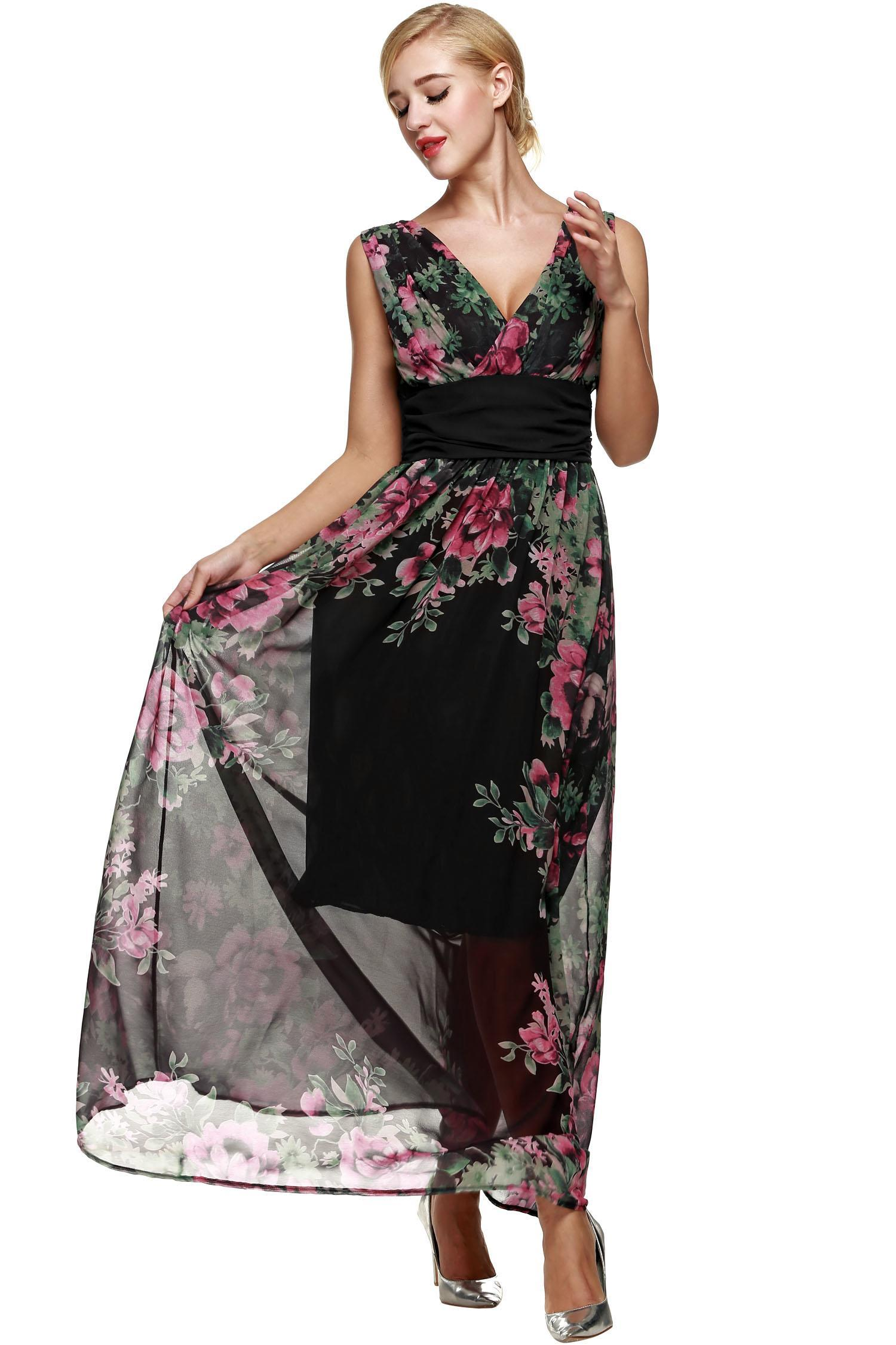 robe Robe sans Finejo femme longue col Achat femme V Noir wqrOwPt7xT 1ba41665db3