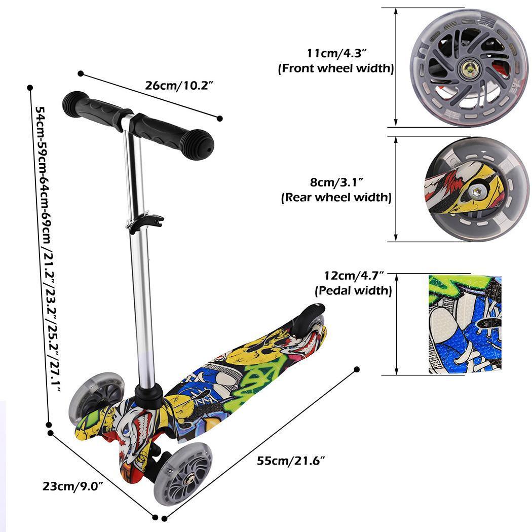 de kinder scooter mit 3 led r dern kinderroller tretroller. Black Bedroom Furniture Sets. Home Design Ideas
