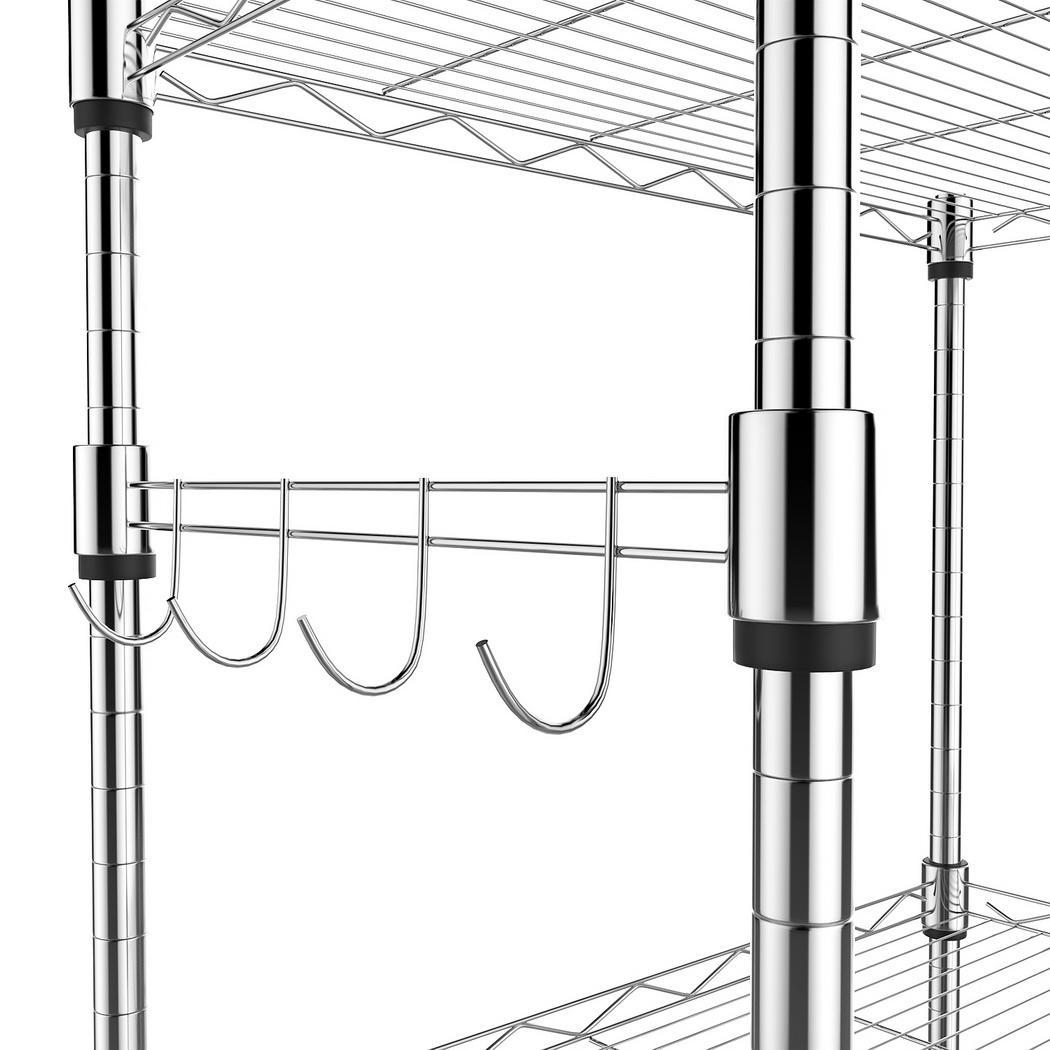 23.2x13.8x72 USA Adjustable 5-Tier Mobile Wire Shelving Unit w//Rubber Casters