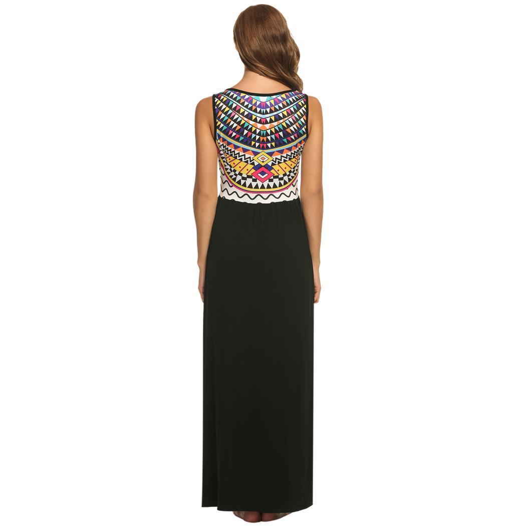 dba7c0970fb Details about Women s Summer Beach Print Sleeveless Tank Top Long Maxi Dress  EH7E 01