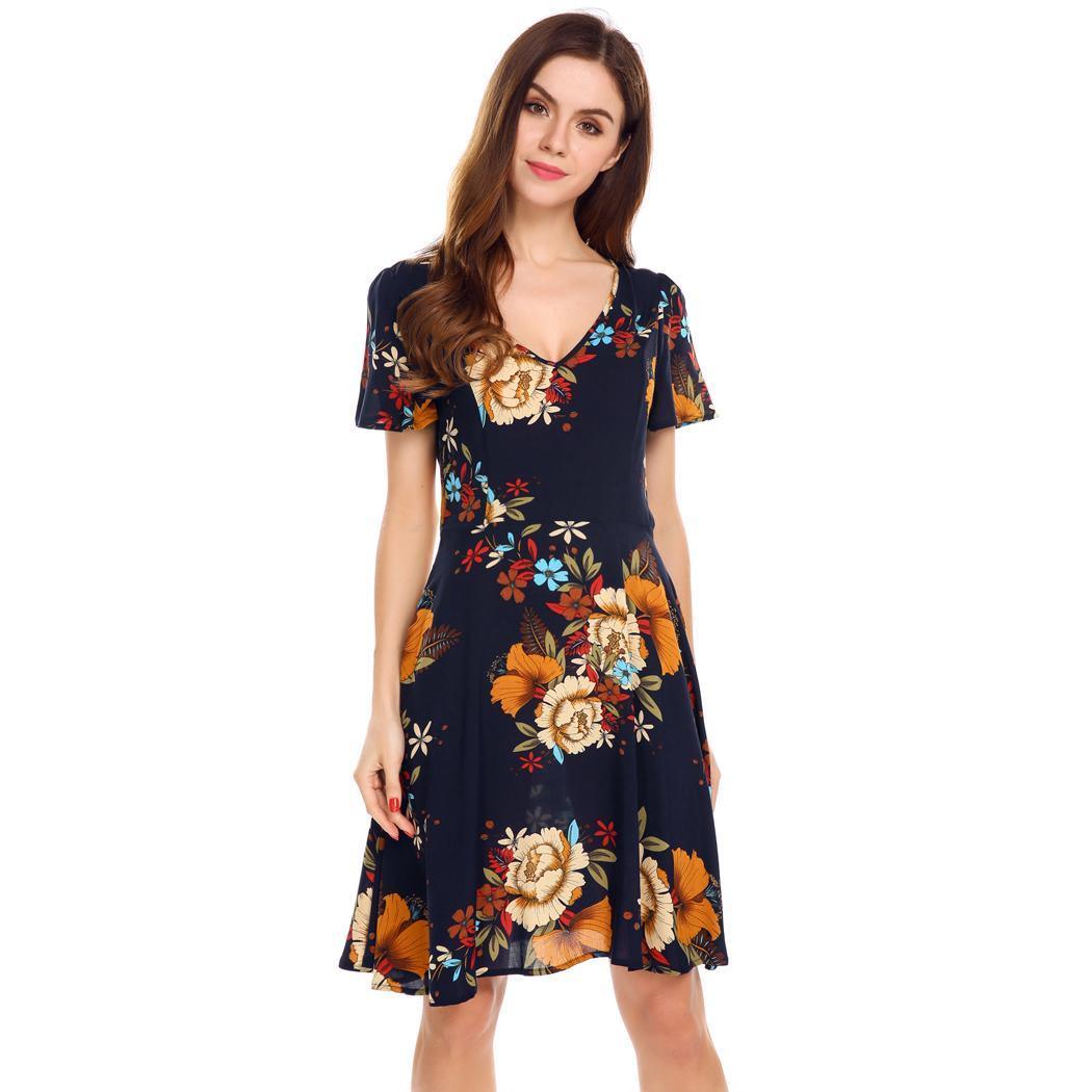 a8656af8e8 Details about Women V-Neck Short Sleeve Floral Print Casual Fit and Flare  Dress WST 01