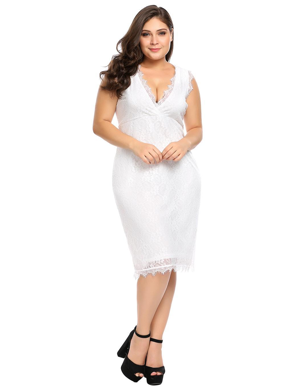 Details about Women Plus Size Wrap Front V-Neck Sleeveless Lace Bodycon  Party Dress ZZ
