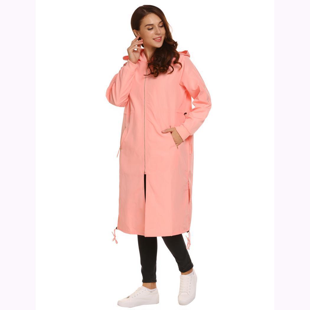 Women Casual Hooded Long Sleeve Solid Waist Drawstring Winter Warm RR3