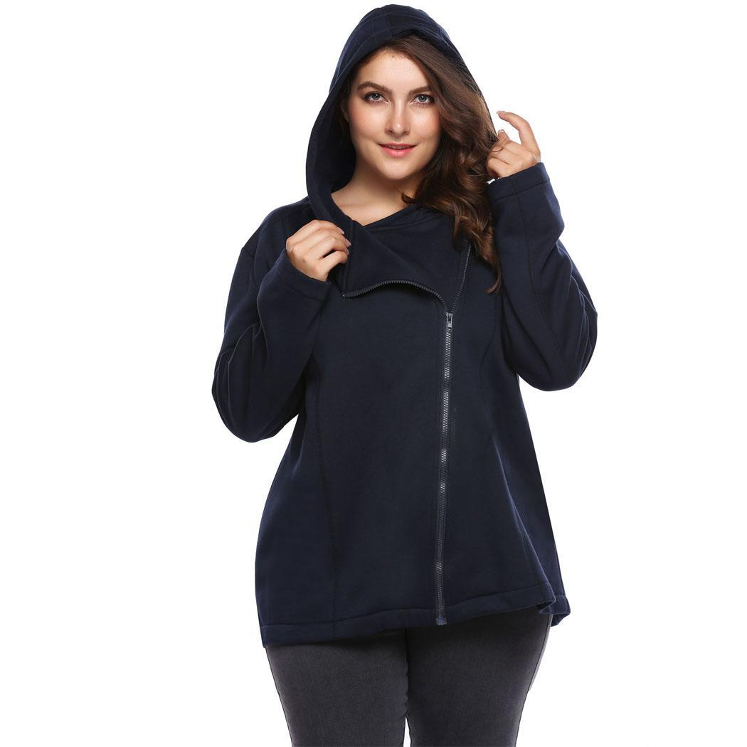 749e563790e Details about Women Plus Size Casual Hooded Long Sleeve Solid Zipper Coat  with Fleece WST