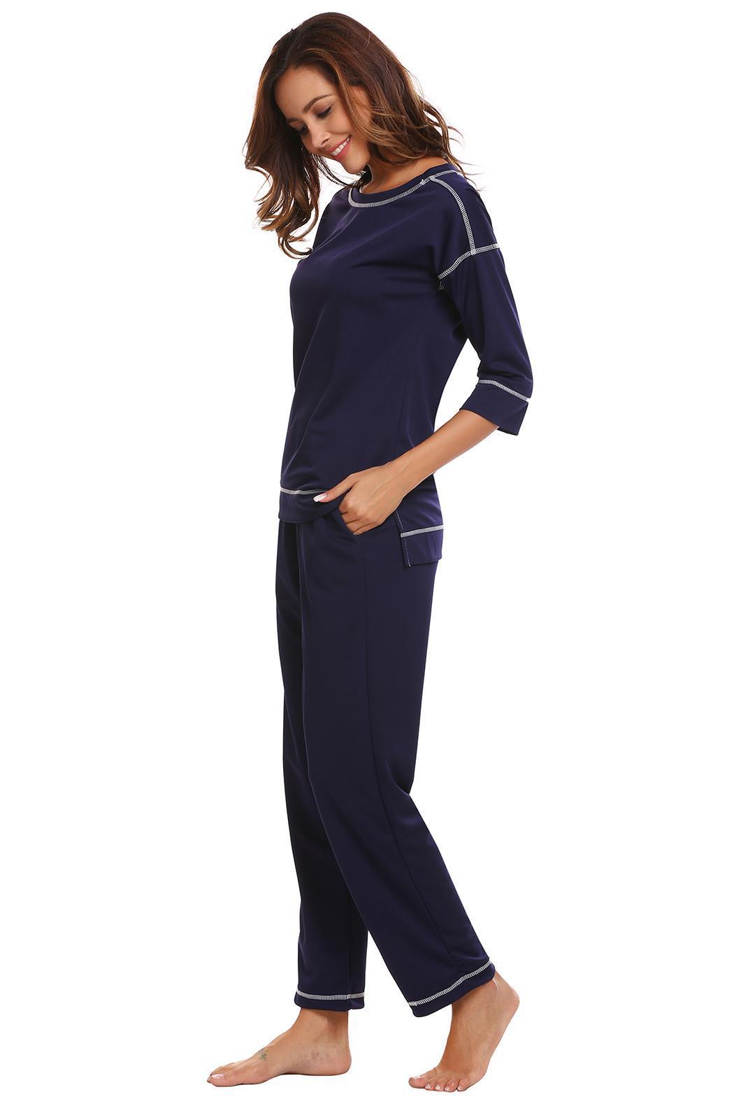 Women Sleepwear 3//4 Sleeve Contrast Color T-Shirt Top Long Pants Pajama EHE8