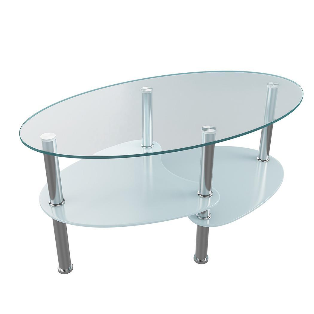 Oval Coffee Table With Shelf.Details About Contemporary Glass Oval Coffee Table Round Hollow Shelf Living Room Furniture