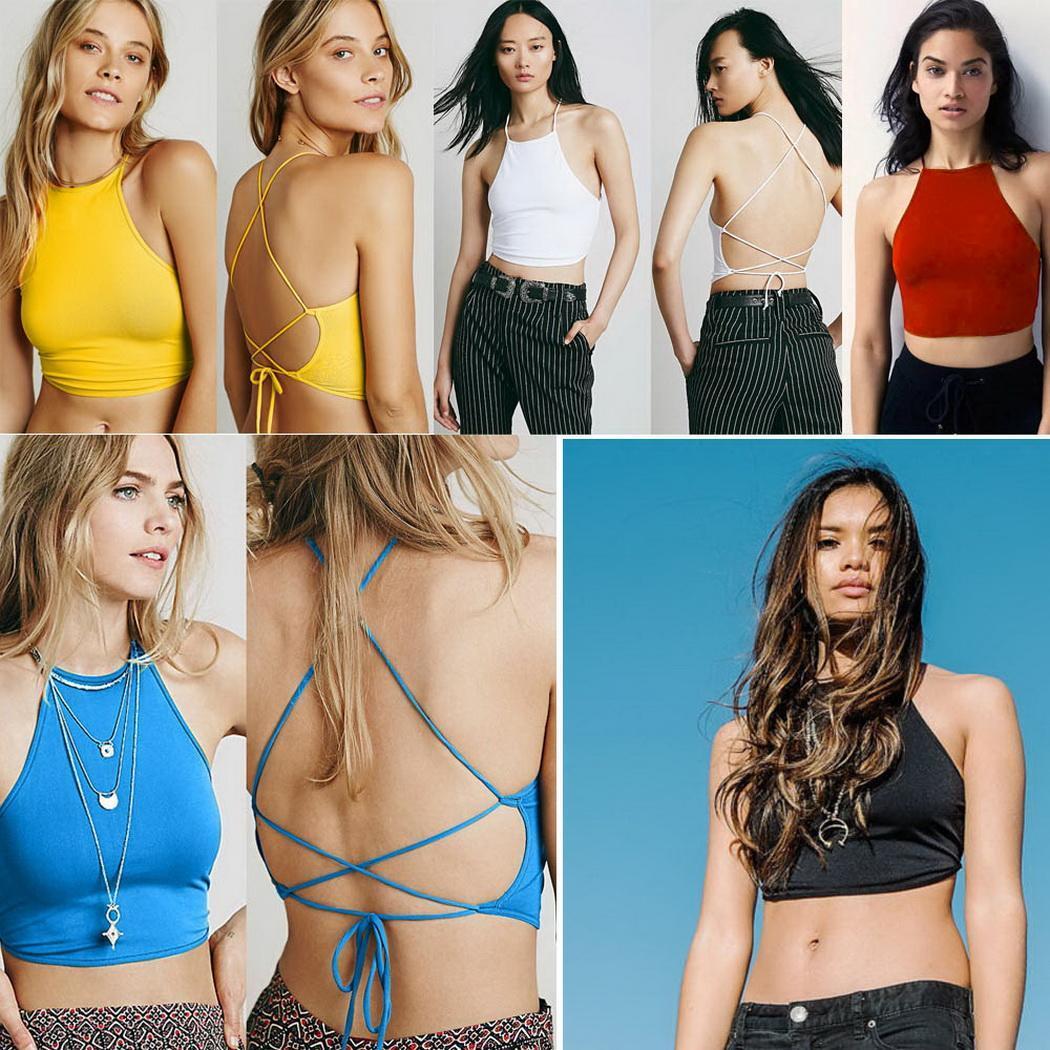 865d9cf69a0fc Details about Summer Backless Cami Halter Crop Top Women Sexy Bustier  Bralette Vest Bra NC89