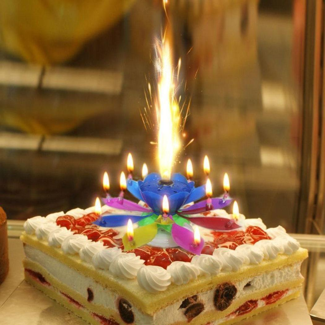 Details About Magical Flower Happy Birthday Blossom Lotus Musical Candle Romantic Party Gift