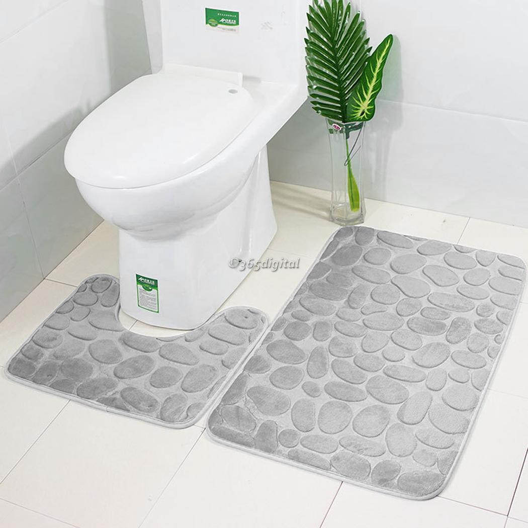 2Pcs//Set Flannel Cobblestone Mat Set Bathroom Bath Soft Plush Carpets Toilet New