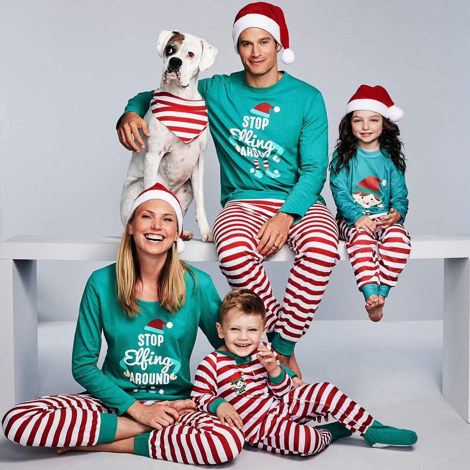 4b322de70ab7 Details about Family Matching Outfits Christmas Pajamas Sets Children  Adults Sleep Pjs VTSR