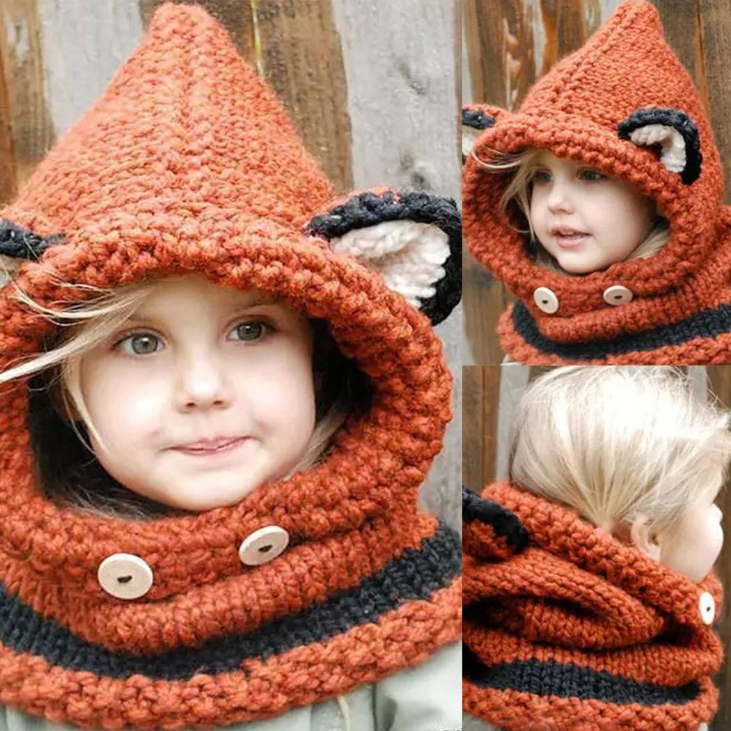 12a1a2c2fef Details about Kids Warm Fox Animal Hats Knitted Coif Hood Scarf Beanies for  Autumn N4U8