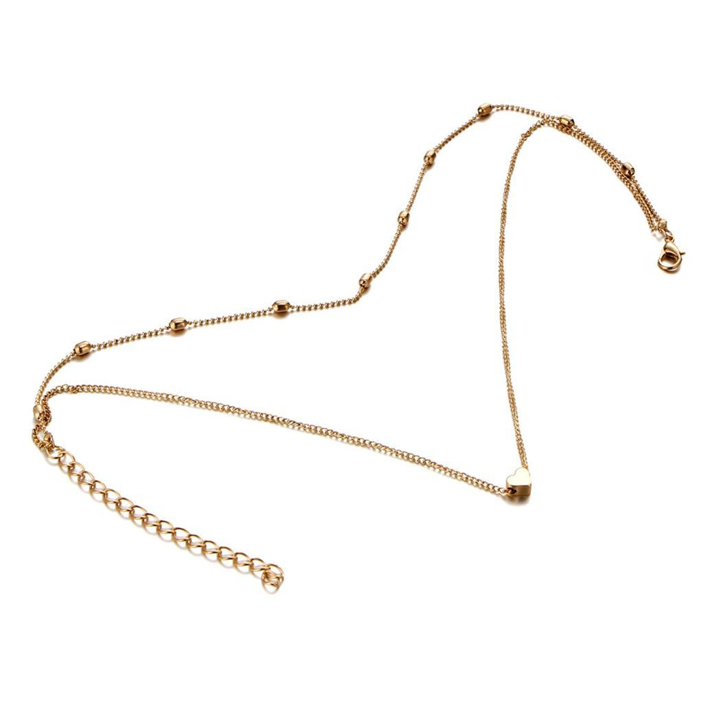 0b4e5a65a9e Details about New Simple Double Layers Chain Heart Pendant Necklace Choker  Women Jewelry FF