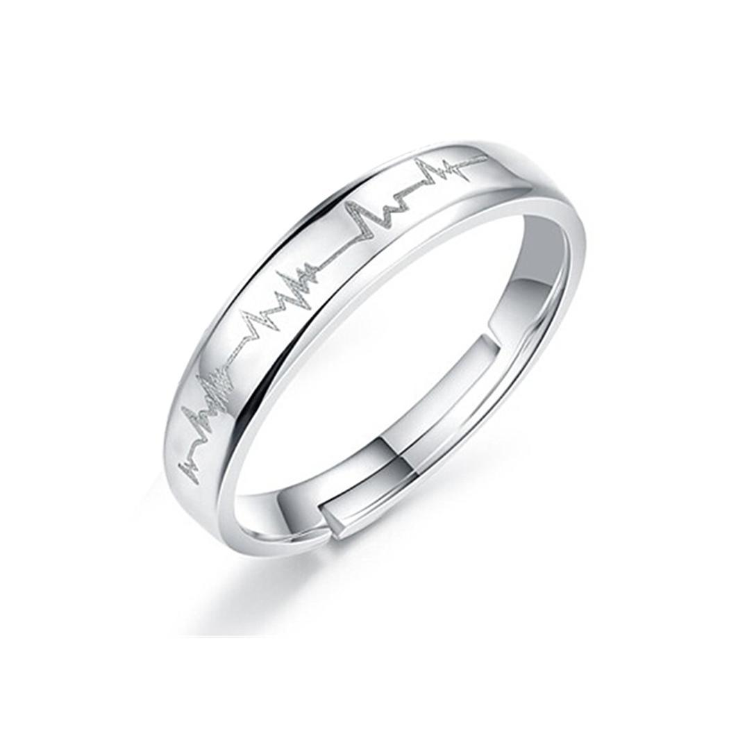 1d0cd07588802 Details about Lover Heartbeat ECG Silver Ring Couple Wedding His and Her  Promise Rings NICE 01