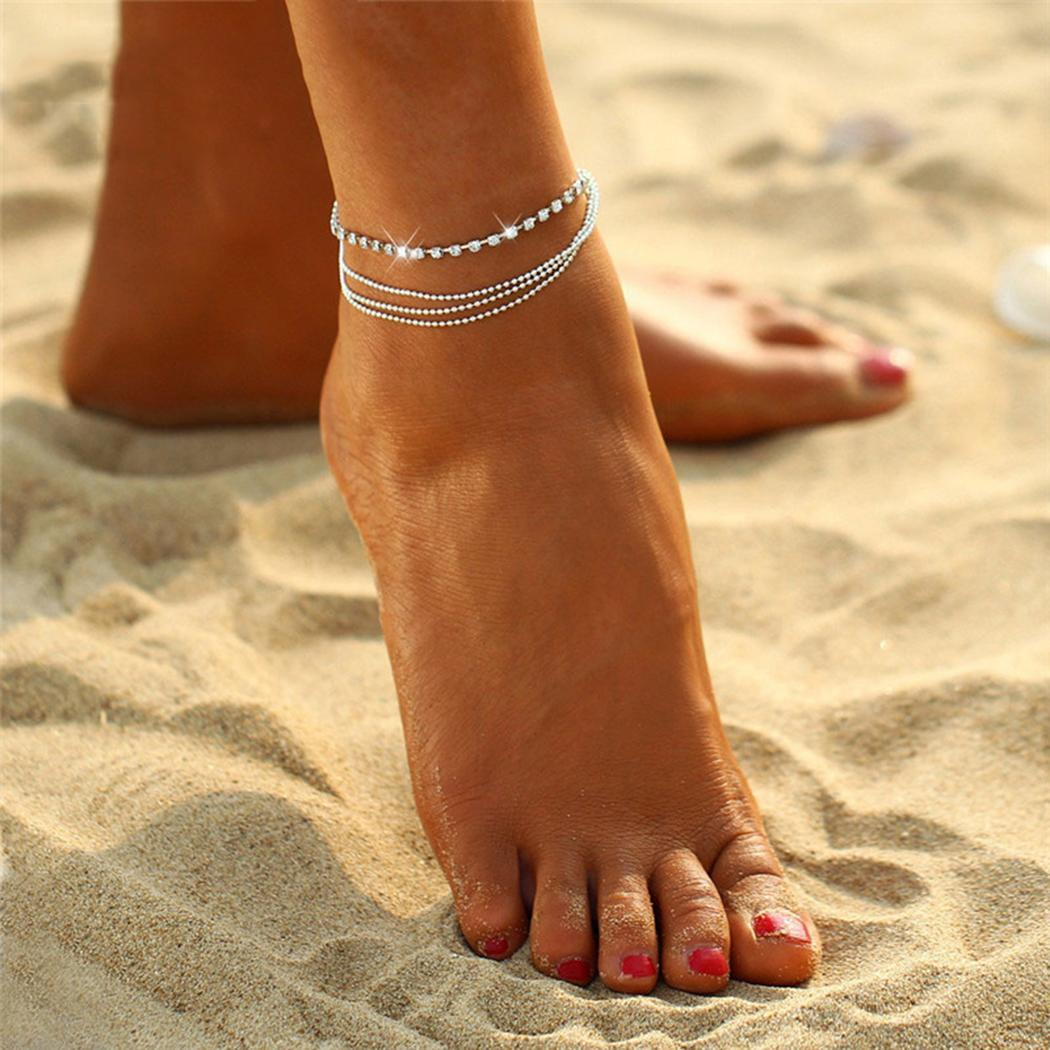 Jewelry & Watches Crystal Rhinestone Ankle Bracelet Women Anklet Chain Foot Beach Jewelry